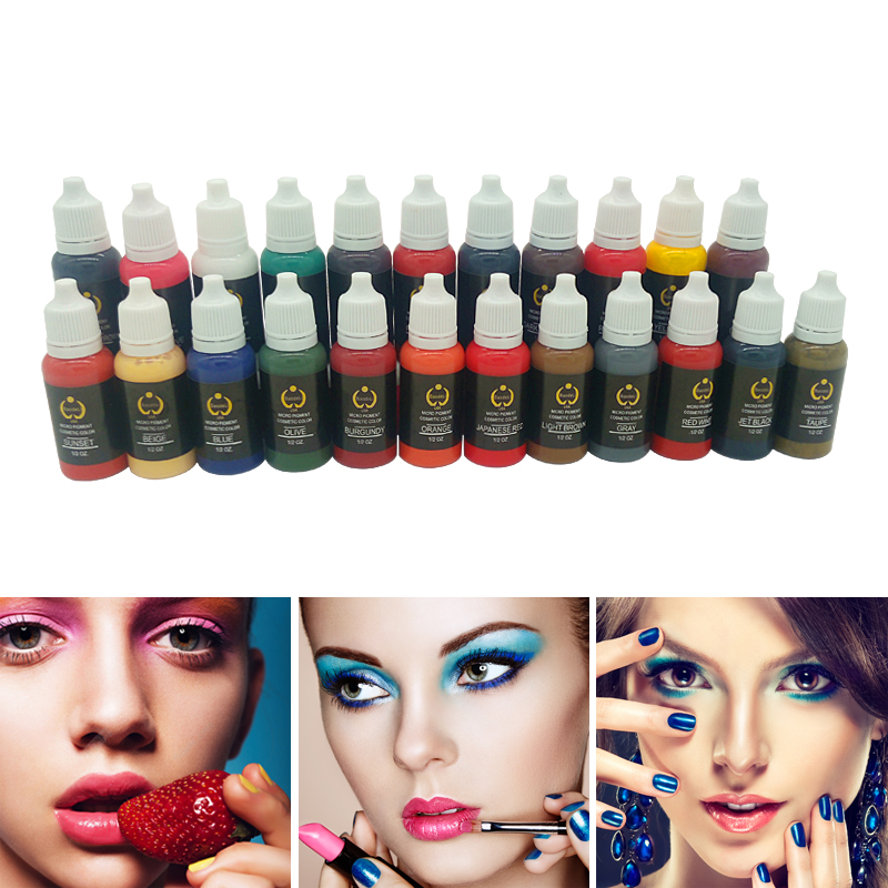 купить Tattoo Ink Set Pigments Permanent Makeup 15ml Tattoo Ink For Tattoo Body Eyebrow Eyeliner lip Choose Any 23pcs онлайн