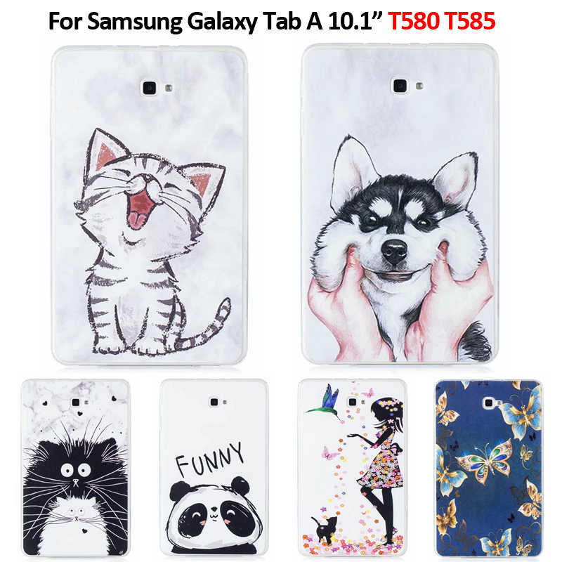 Lovely Cat Puppy Butterfly Printed Soft TPU Tablet Cover For Funda For Samsung Galaxy Tab A A6 10.1 2016 T580 T585 SM-T585 Case