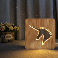 Cute Unicorn Horse Animal 3D LED 7 Colorful wood Lamp as Lights for kids gift