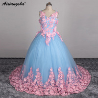 Vintage vestido de Bola Vestido de Novia 2017 Por Encargo Apliques de Encaje de Flores de Novia Vestidos de Tul de Novia Vestidos de casamento