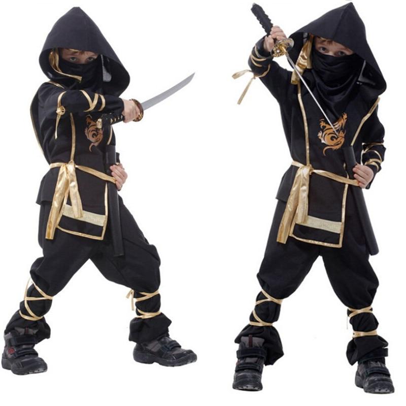 Kids Ninja Costumes Purim Party Boys Girls Warrior Stealth Halloween New Year Cosplay Assassin Costume