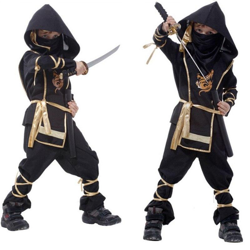 Los niños disfraces de Ninja Purim fiesta niños niñas Guerrero Stealth de Año Nuevo Cosplay asesino traje