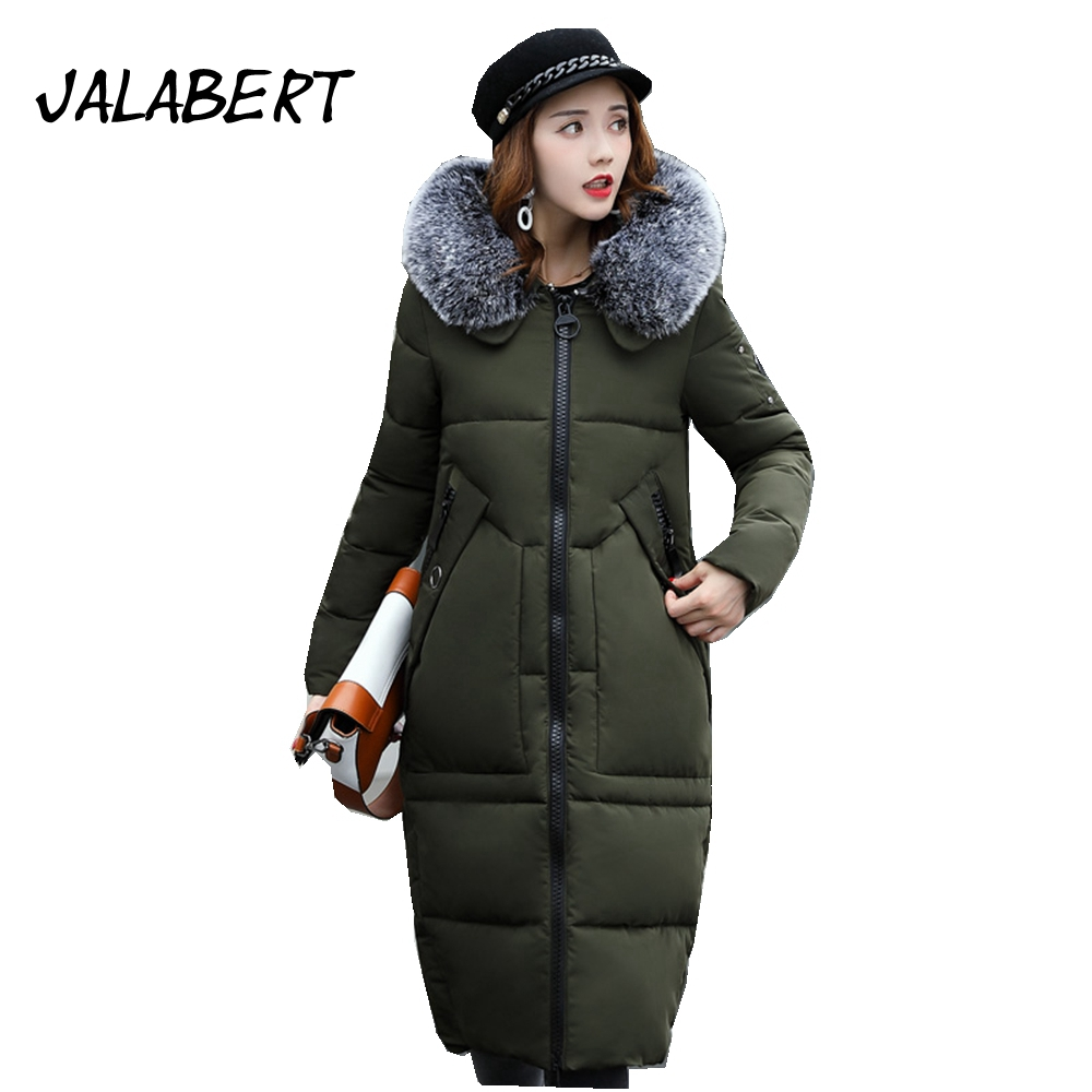 JALABERT 2017 autumn winter new cotton clothing women Slim was thin cotton jacket fashion thick Hooded Fur collar thick coat 2014 autumn and winter women s fashion sexy new luxury fur collar jacket leopard fur coat was thin waist