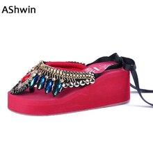 цена на AShwin bohemia sandals women glitter crystal ethnic flip flops wedge platform rivet thong slippers diamond shiny beach shoes