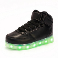 High Help Children Breathable Sneakers Fashion Sport Led Usb Luminous Lighted Shoes Kids Running Boys Casual