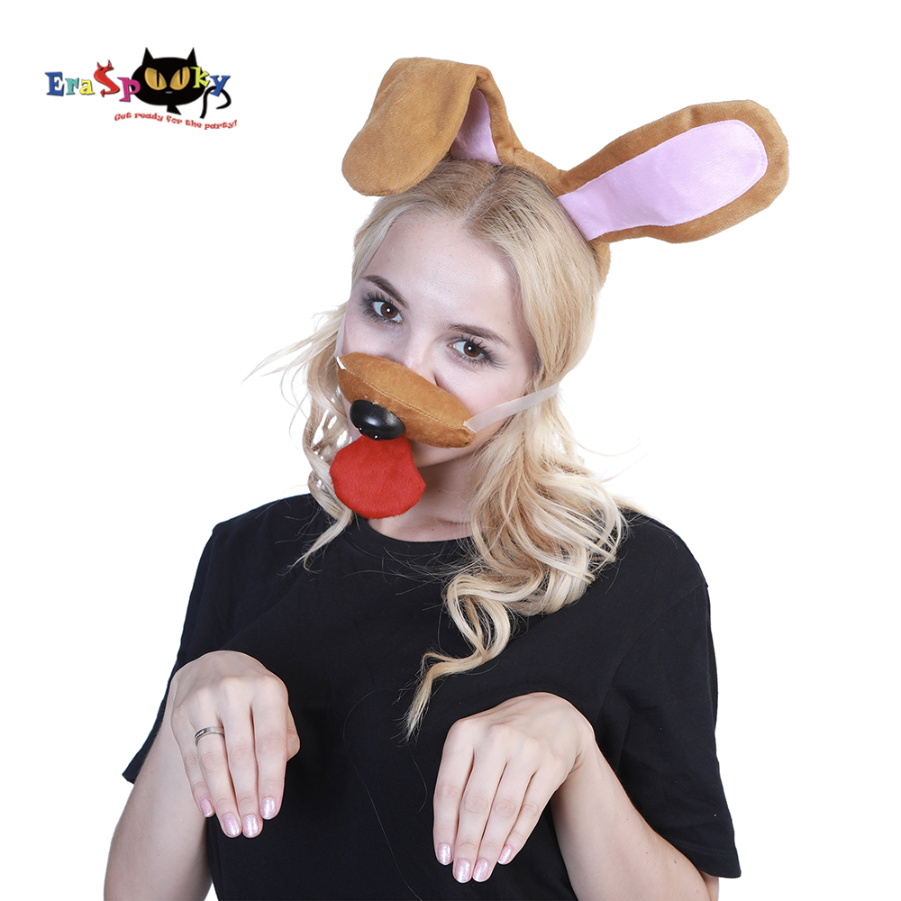 Eraspooky Halloween costume accessories brown dog Christmas cosplay headband dog ear and nose set cosplay mask for animal party