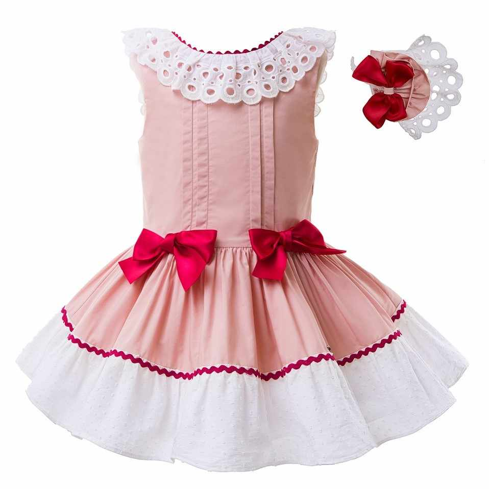 44d762b2c Pettigirl Wholesale Spanish Style Pink Girl Dress Sleevesless Pageant  Dresses Boutique Kids Wear With Double Bows