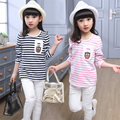 Fashion Striped Girl T-shirt Spring Autumn long Sleeve t shirt girl kids korean style teenager girl t shirt chidren clothing
