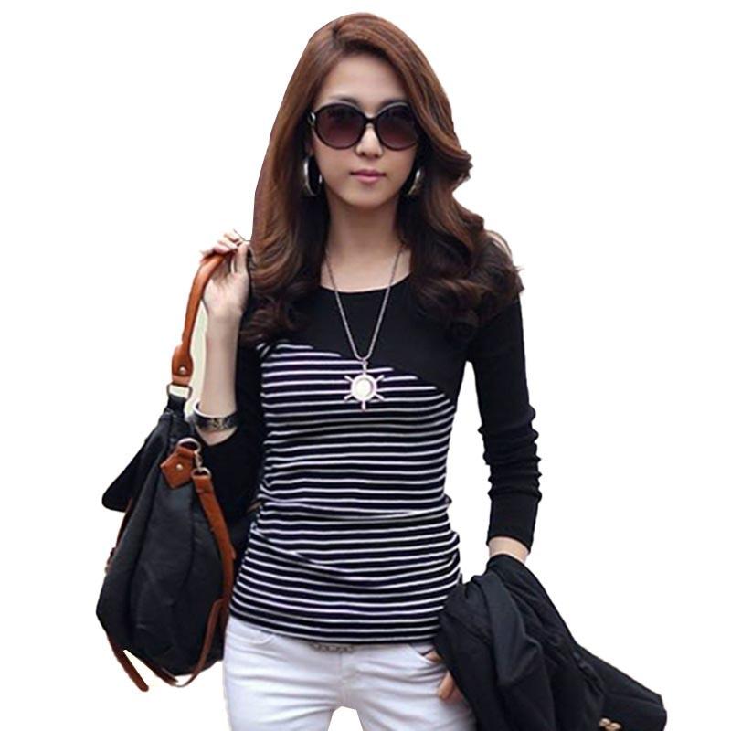 T Shirt Women Clothes 2019 Striped Tshirt Long Sleeve Tops Womens Clothing T-Shirts Spring Autumn Winter Cotton Casual Tee Shirt(China)