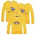 1 pc 2015 nova família fashion clothing set primavera outono algodão camisa de T Para O Filho de Pai e Mãe e Filha Combinando Roupas Conjuntos