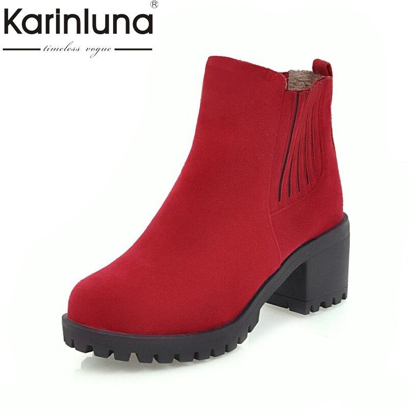 KARINLUNA 2017 Plus Size 34-43 Platform Slip On Woman Shoes Fashion Square Heels Black Red Ankle Boots Western Boot Women 2015 spike boots platform black boots on the heels red bottom ankle boots for women plus size 35 42 3