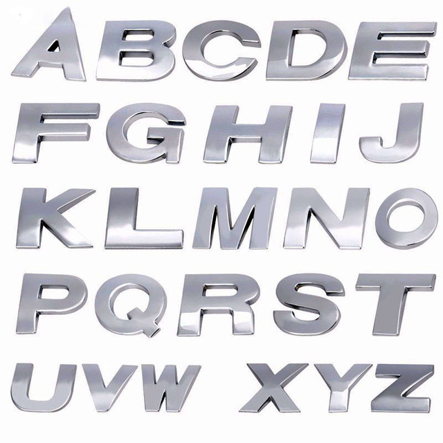 1PC New Automobiles 3D Metal Car Stickers A To R 26 Letters Car Auto Decals Stricker Car Decoration DIY Accessories Dropship Hot