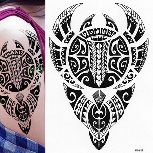 9de376fc7b2e6 POLYNESIAN BULL TEMPORARY TATTOO, WARRIOR, TRIBAL MENS, WOMENS, MAORI,  STICKER