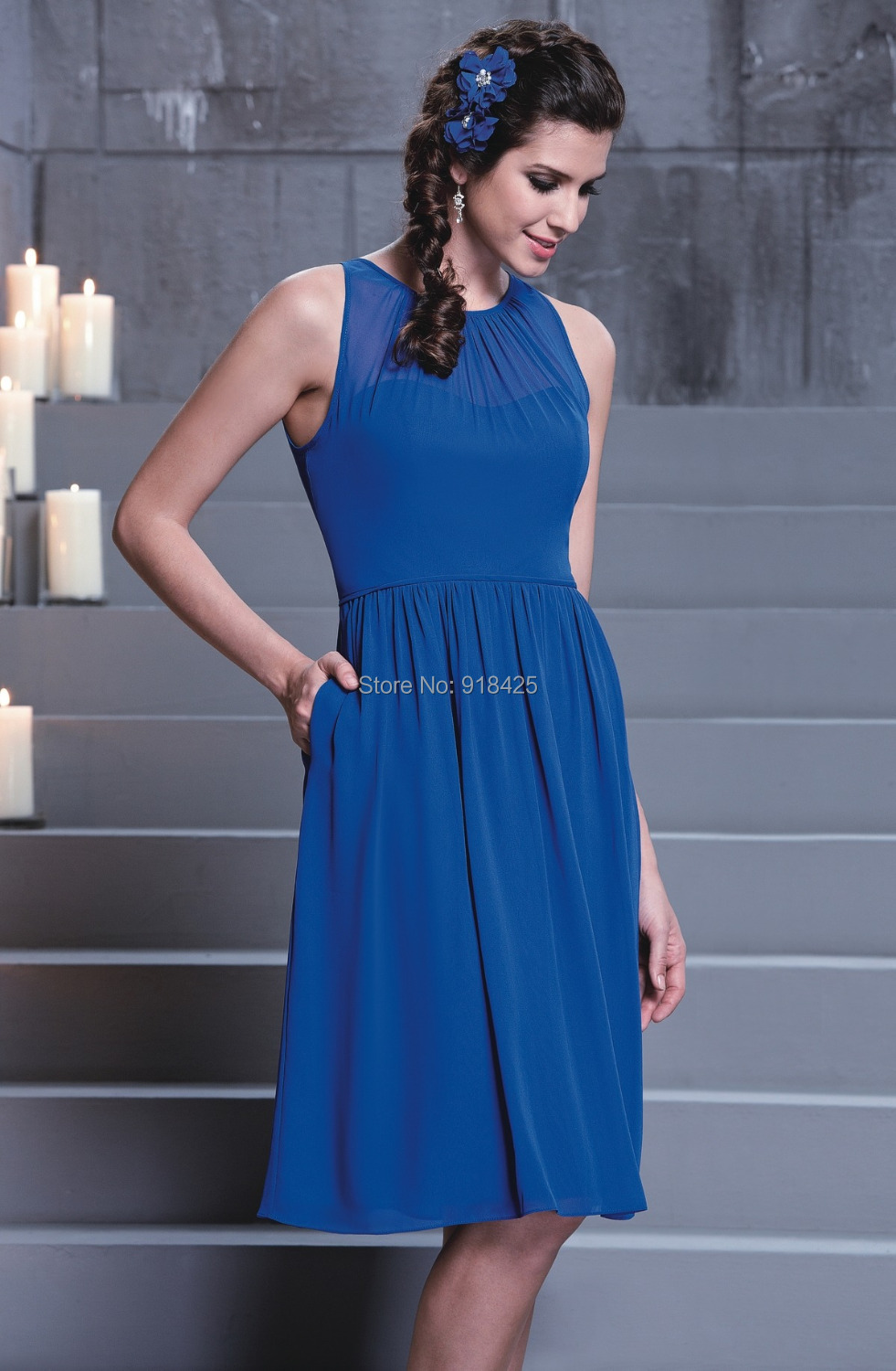 Compare prices on western bridesmaid dresses online shoppingbuy western country royal blue bridesmaid dress knee length wedding guest chiffon short high neck free shipping ombrellifo Images
