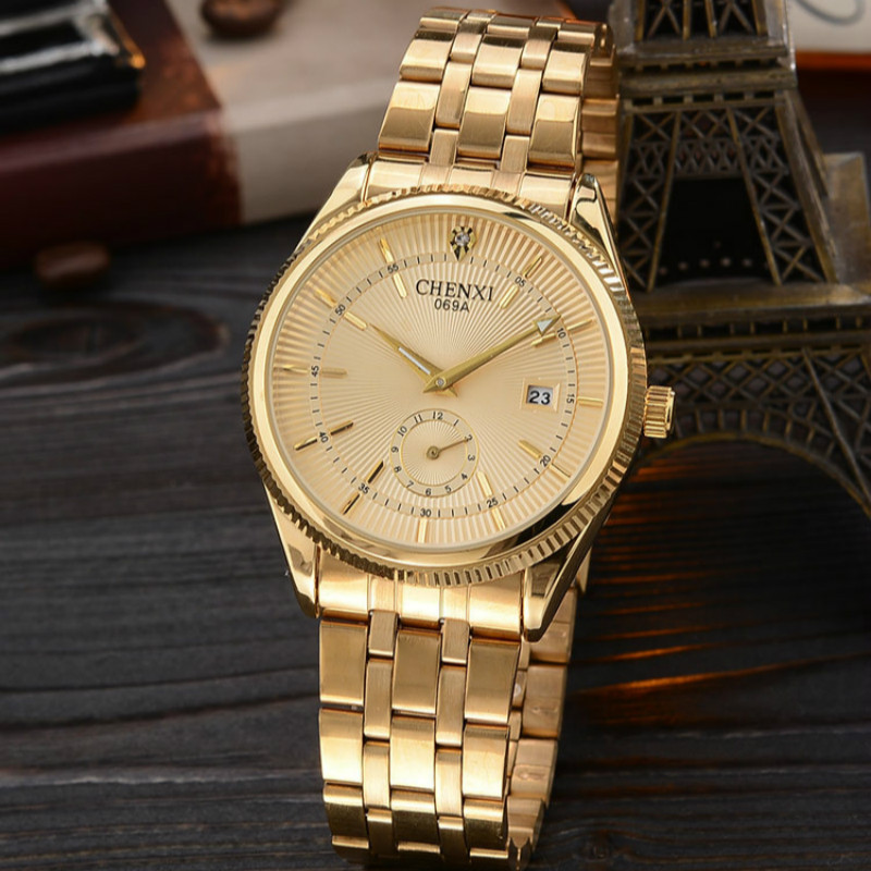 CHENXI Gold Watch Men Watches Top Brand Luxury Famous Business Wristwatch Male Clock Golden Quartz Watch