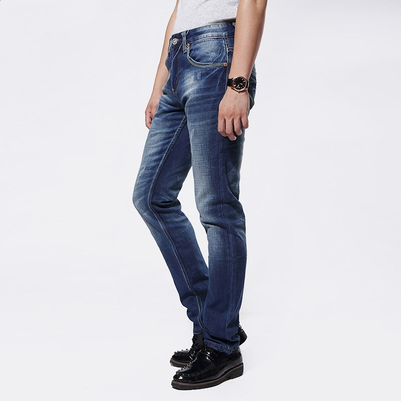 ФОТО Men's waist jeans autumn and winter fashion business men straight stretch jeans