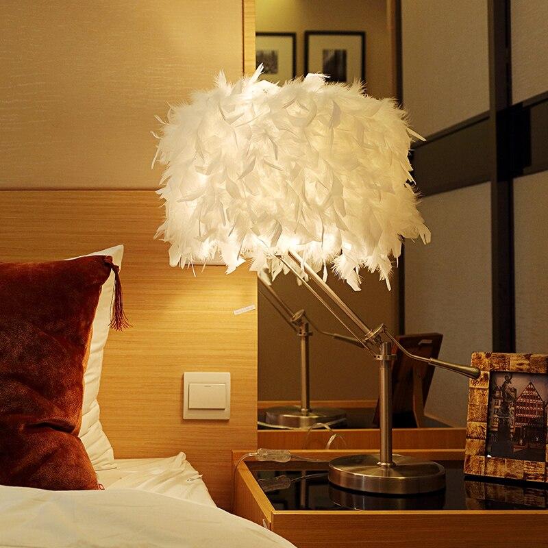 Бесплатная доставка коромысла перья настольная лампа тайна отель предложения перо лампы перо дерева огни ZL335