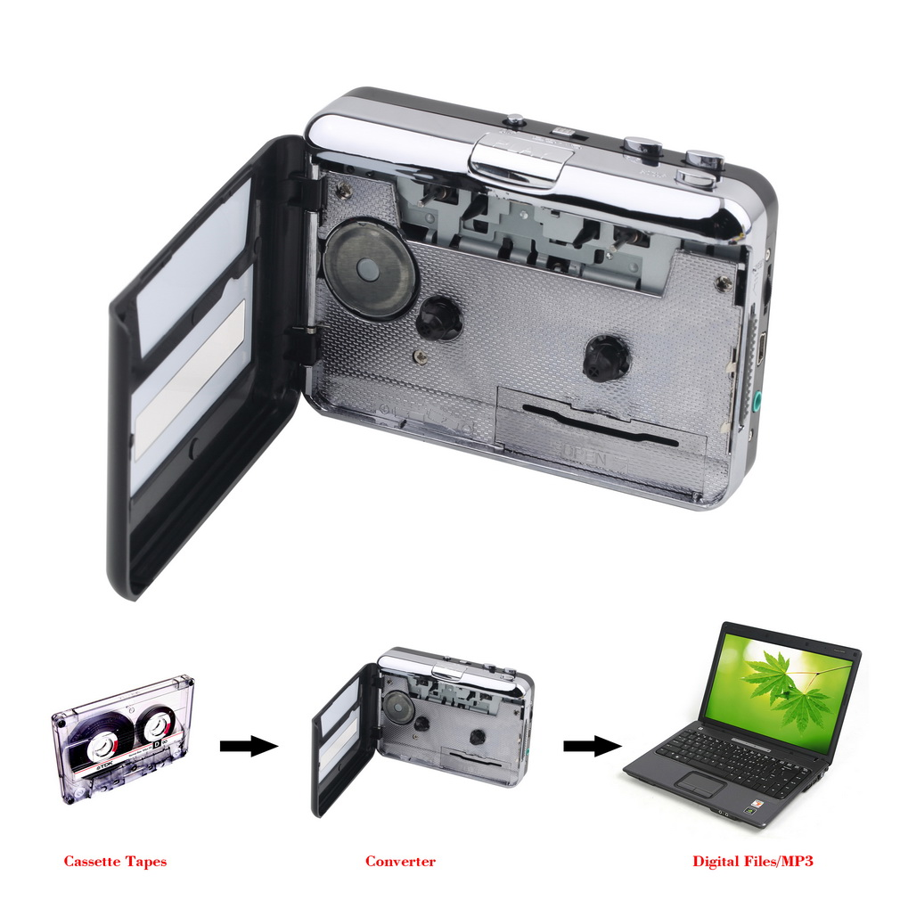 1 satz Portable USB Kassettenspieler Erfassen Cassette Converter Digitale Audio Musik-player DropShipping