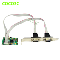 Mini PCIe 2 Serial Ports Controller Card Mini PCI E To DB9 RS232 Adapter For Min