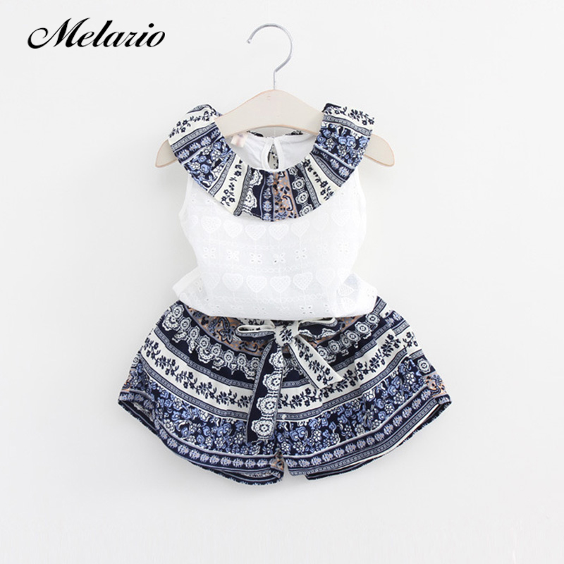 Melario 2018 Summer Girls Clothing Sets Cotton Vest Two-piece Sleeveless Children Sets Casual Fashion Girls Clothes Suit Skirt