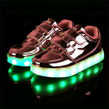 Kid USB Charging LED Light Shoes Soft Leather Casual Boy Girl Luminous Antiskid Bottom Children Sneakers LGA050