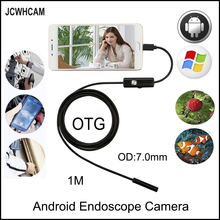 JCWHCAM USB Endoscope 7MM 6 LED IP67 Waterproof micro Camera Android 1M Mini
