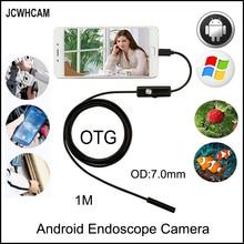 JCWHCAM USB Endoscope 7MM 6 LED IP67 Waterproof micro Camera USB Android Endoscope 1M Mini Endoscope Camera