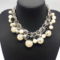 Silver Color ABS Big Pearl Necklace Chokers Statement Jewelry Women/Collares De Perlas/Grand Collier De Perles/Joyeria