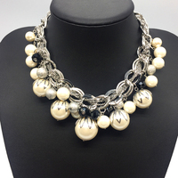 Silver Chian ABS Big Pearl Necklace Chokers Statement Jewelry Women Collares De Perlas Joyeria De Plata