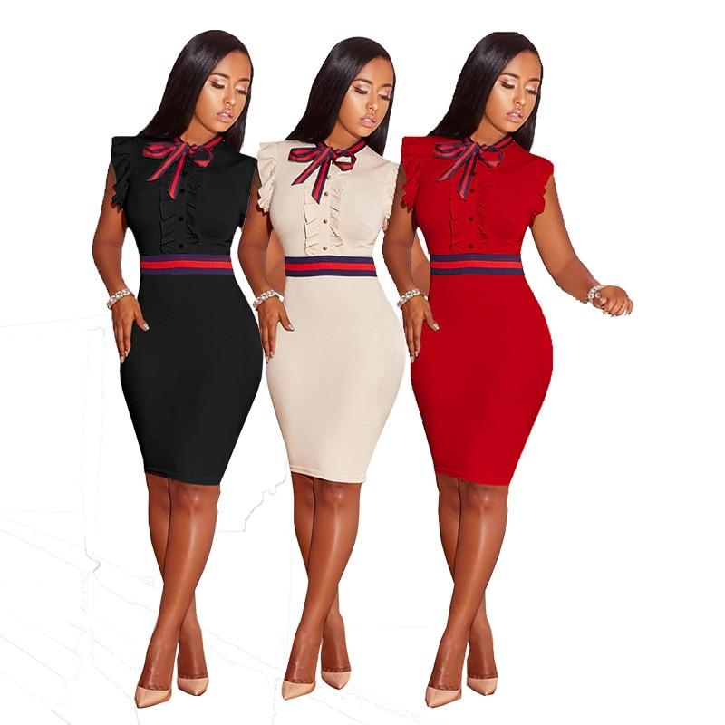 Women Sexy Sleeveless knee Length Pearl Bow tie Summer Plus Size Bodycon Dress 3XL