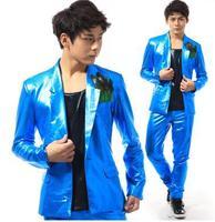 Stage 1 blue korean suits set mens blazer jacket men blazer slim fit terno masculino blazer men jacket 2XL Customizable