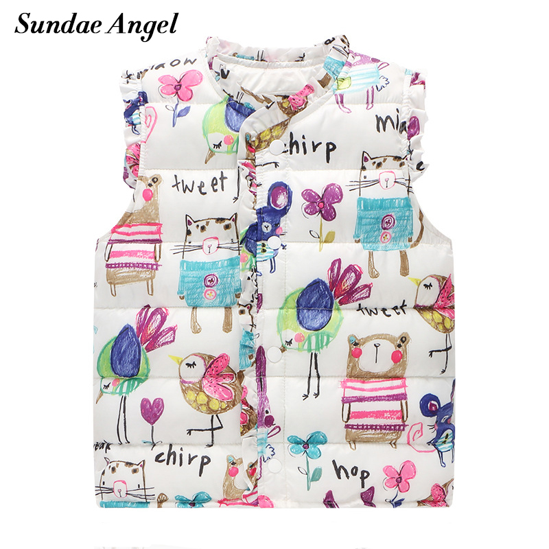 Sundae Angel Girls Vests Children's Down Cotton Warm Kids Baby Girl graffiti Waistcoat High Quality Outerwear 2-7 Years Clothing