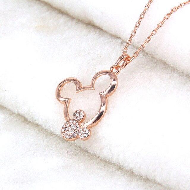 Mickey collana donne ragazze gioielli di moda regalo di natale rosa color oro Austriaco di cristallo del rhinestone sveglio collane del pendente