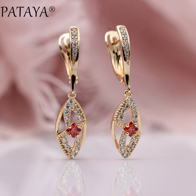 PATAYA New Women Wedding Party Fine Jewelry 585 Rose Gold Micro-wax Inlay Pomegranate Red Natural Zircon Long Dangle Earrings