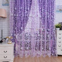 Flower curtain window screening Rod type purple tulle with flowers print patterns used for decorating living rooms, bedrooms