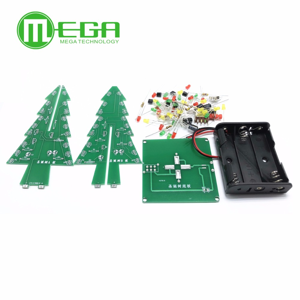 Three-Dimensional 3D Christmas Tree LED DIY Kit Red/Green/Ye