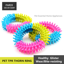 TPR eco-friendly pet toy rubber thorn ring shape pet toy molar toy bite resistance pet training essential 1pc/lot