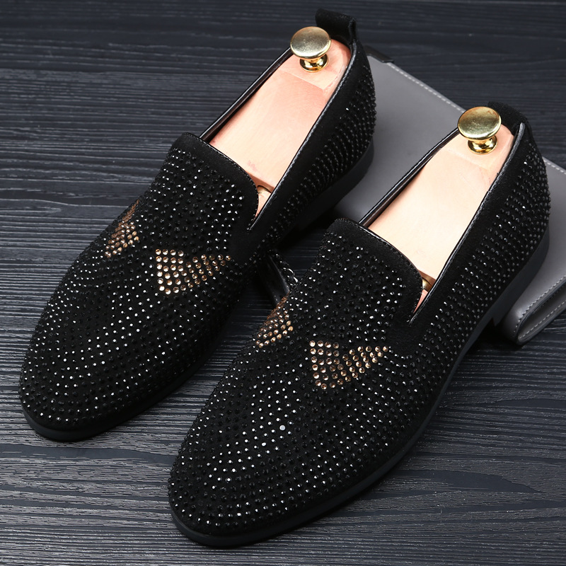 M-anxiu Crystal Dots Decoration Pointed Toe Men Slip On Loafers Low Heel Formal Party Dress Shoes Christmas Gift 1