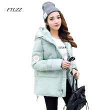 Ftlzz Womens Winter Jackets Short Slim Solid Fashion Hooded Cotton Coat Casual Warm Thick Black Jacket Snow Outwear Female
