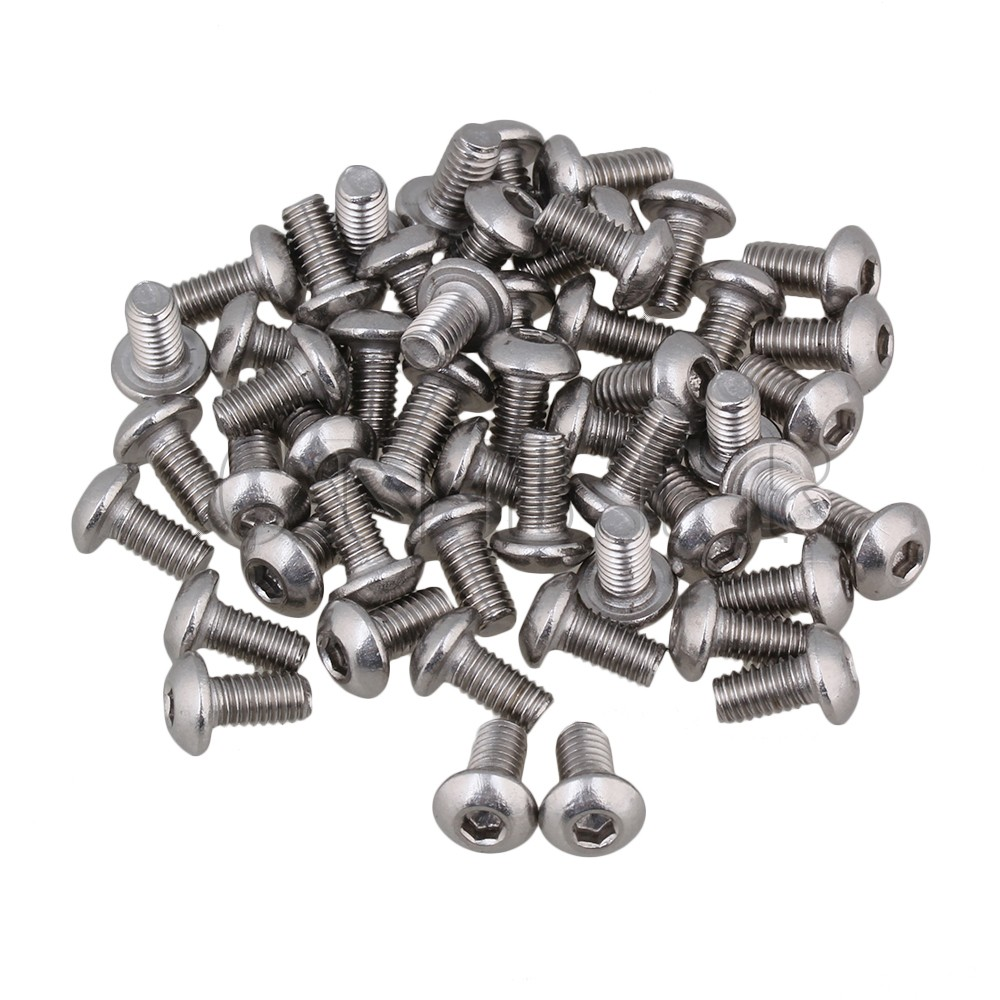 CNBTR 50pcs Metric Thread M4 Head Hex Socket Cap Screws Bolts 304 Stainless Steel 20pcs metric m12 304 stainless steel hex head dome cap protection cover nuts fasteners
