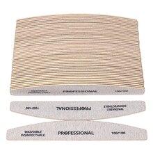 50 قطعة/الوحدة الخشب الصنفرة ملف الأظافر ل مانيكير 100/180 المهنية خشبية مانيكير عازلة رمادي قارب مزدوج الجانب أداة العناية بالأظافر