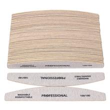 50 sztuk/partia papier ścierny do drewna pilnik do Manicure 100/180 profesjonalny drewniany bufor do Manicure szara łódź dwustronnie narzędzie do pielęgnacji paznokci