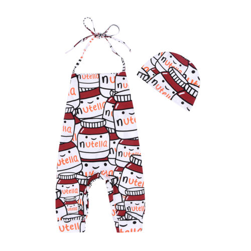 Pudcoco Lovely Toddler Infant Baby Boy Girl Halter Backless Romper Jumpsuit Hat Summer Newborn Cotton Clothing One-Piece 2017 baby girl summer romper newborn baby romper suits infant boy cotton toddler striped clothes baby boy short sleeve jumpsuits