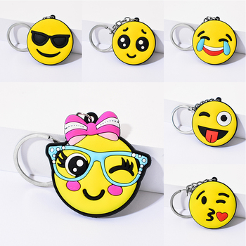 Vicney New Arrival Emoji Keychain Cool laughing Show love Emoji Key Chain Support Wholesale Cute Key Holder For Best Friends