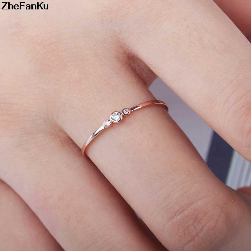 2019 ใหม่แฟชั่นผู้หญิงทองเรียบง่าย 3 คริสตัลเพชร Zircon แหวนเจ้าสาวแต่งงานแหวน Dropshipping