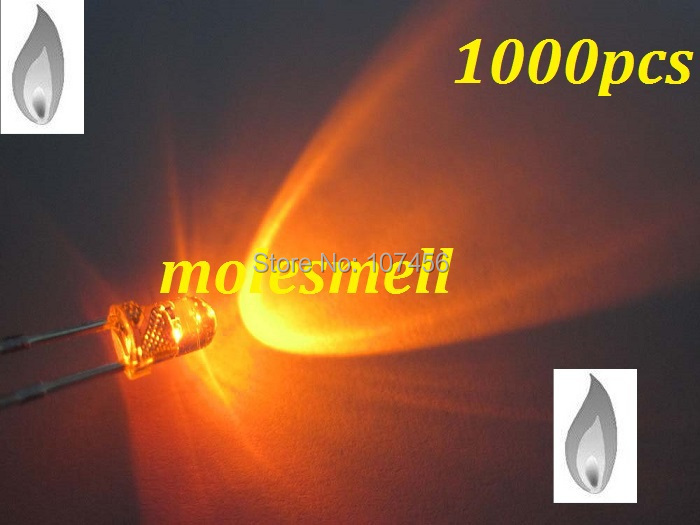 free shipping 1000pcs 3mm Orange Candle Light Flicker Ultra Bright Flickering orange LED Leds 3mm water