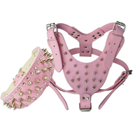 1Set Pink PU Leather Dog Collar Dog Harness Puppy Retractable Buckle Pet Dog Collars For Small
