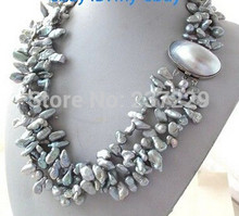 FREE SHIPPING>>>@@ Wholesale price S ^^3Strands Gray Petal Keshi Keishi Pearl Necklace Mabe Clasp(China)
