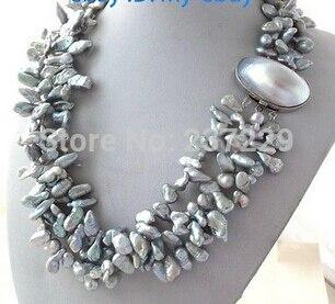 Livraison gratuite>>> @ @ prix de gros S ^ ^ 3 brins pétale gris Keshi Keishi collier de perles fermoir Mabe
