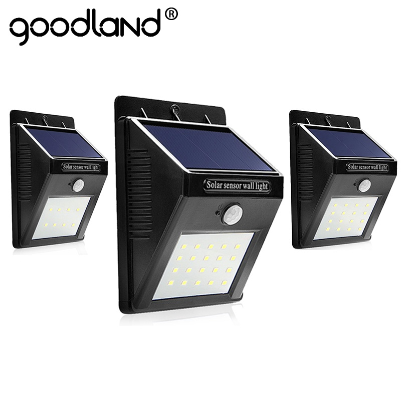 Goodland LED Solar Light Waterproof Solar Lamp PIR Motion Sensor Wall Lamp LED Solar Powered Energy Panel Night Light For Garden